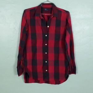 Gap Boyfriend Tunic Button Down Plaid Shirt